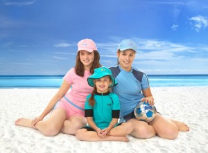 children in sun protection clothing